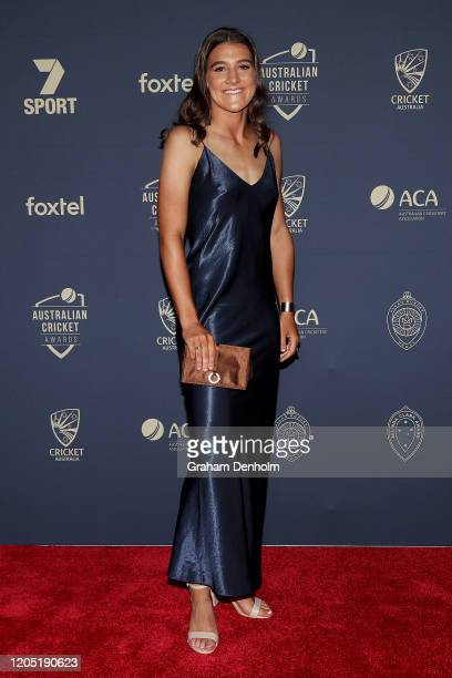 Annabel Sutherland arrives ahead of the 2020 Cricket Australia Awards at Crown Palladium on February 10 2020 in Melbourne Australia