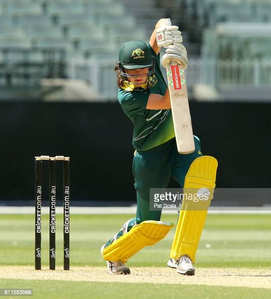 Annabel Sutherland bats during the U18 Womens Big Bash League Exhibition match at Melbourne Cricket Ground on January 28 2018 in Melbourne Australia