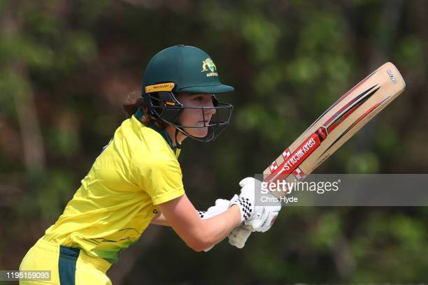 Annabel Sutherland of Australia A bats during game two of the Women's Twenty20 series between Australia A and India A at Bill Pippen Oval on December...