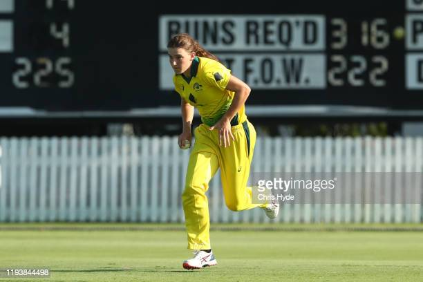 Annabel Sutherland of Australia A bowls during game two of the Women's One Day International series between Australia A and India A at Allan Border...