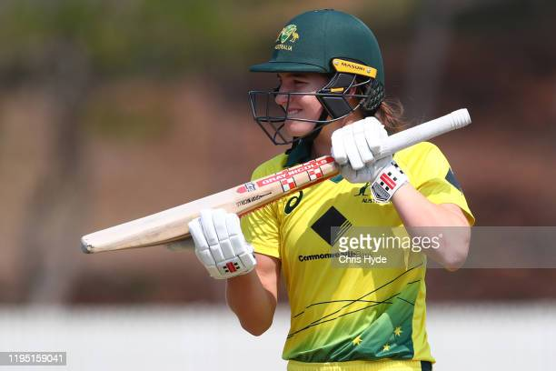 Annabel Sutherland of Australia A leaves the field after being dismissed during game two of the Women's Twenty20 series between Australia A and India...