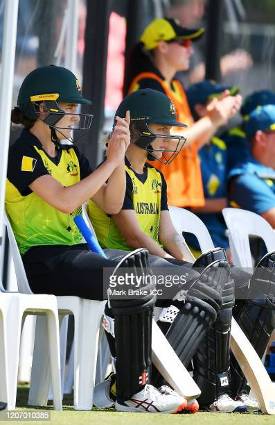 Annabel Sutherland of Australia and Nic Carey of Australia during the ICC Women's T20 Cricket World Cup Warm Up match between Australia and South...