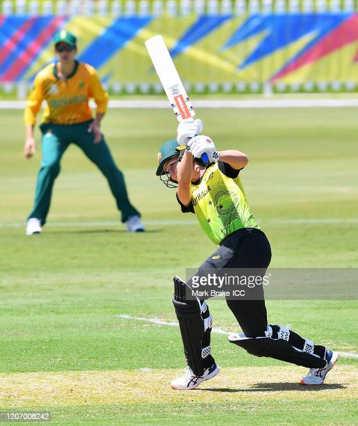 Annabel Sutherland of Australia bats during the ICC Women's T20 Cricket World Cup Warm Up match between Australia and South Africa at Karen Rolton...