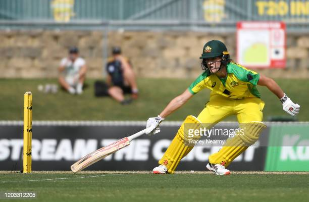 Annabel Sutherland of Australia bats during the Women's T20 TriSeries Game 2 between Australia and England at Manuka Oval on February 01 2020 in...