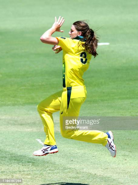 Annabel Sutherland of Australia bowls during the game three of the Women's One Day International series between Australia A and India A at Allan...