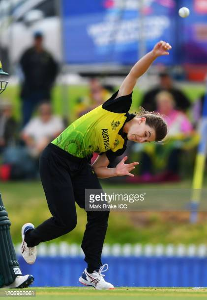 Annabel Sutherland of Australia bowls during the ICC Women's T20 Cricket World Cup Warm Up match between Australia and South Africa at Karen Rolton...
