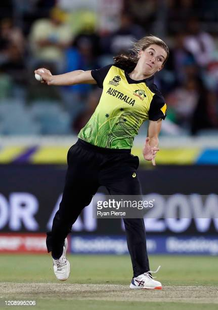 Annabel Sutherland of Australia bowls during the ICC Women's T20 Cricket World Cup match between Australia and Bangaldesh at Manuka Oval on February...