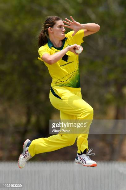 Annabel Sutherland of Australia bowls during the third Women's T20 match between Australia A and India A at Bill Pippen Oval on December 23 2019 in...