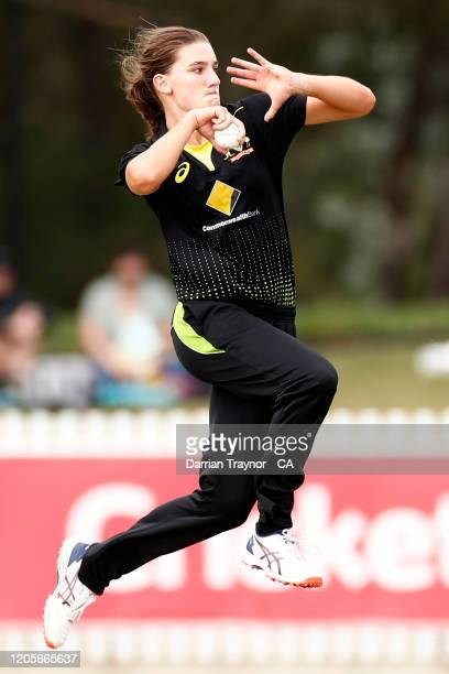 Annabel Sutherland of Australia bowls during the Women's Twenty20 TriSeries Final between Australia and India at Junction Oval on February 12 2020 in...