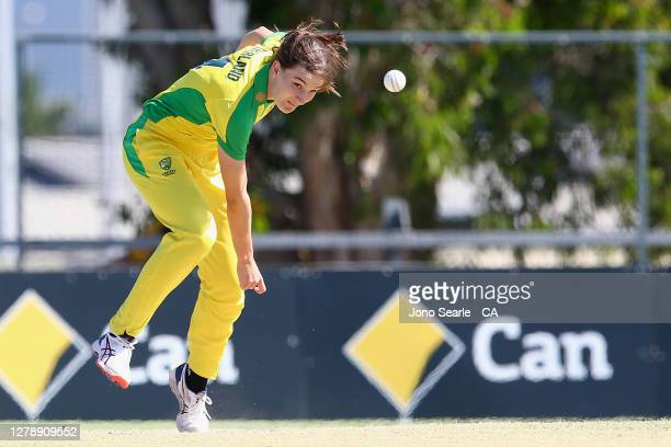 Annabel Sutherland of Australia bowls the ball during game three of the Women's One Day International series between Australia and New Zealand at...