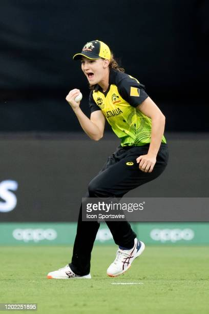Annabel Sutherland of Australia catches out Shafali Verma of India during the ICC T20 Women's World Cup cricket match between Australia and India at...