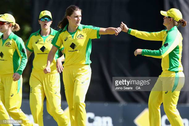 Annabel Sutherland of Australia celebrates a wicket during game three of the Women's One Day International series between Australia and New Zealand...