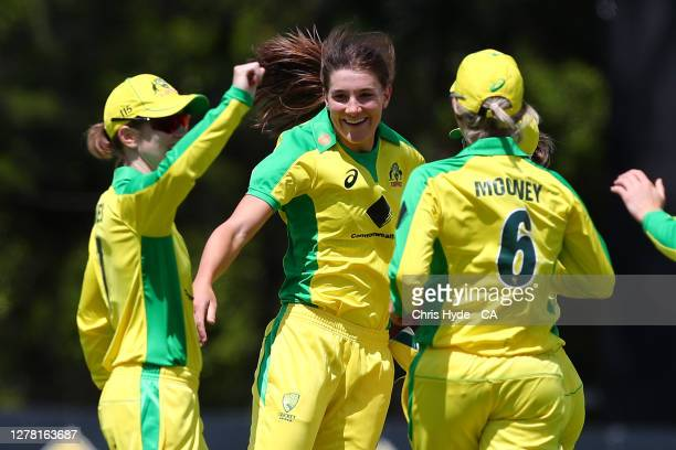 Annabel Sutherland of Australia celebrates after dismissing Amy Satterthwaite of New Zealand during game one in the women's One Day International...