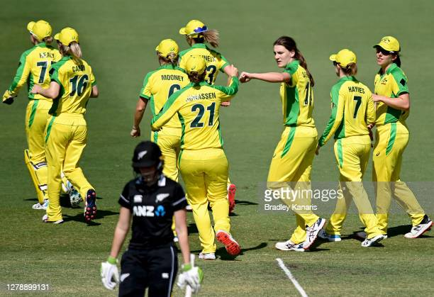 Annabel Sutherland of Australia celebrates taking the wicket of Natalie Dodd of New Zealand during game three of the Women's One Day International...