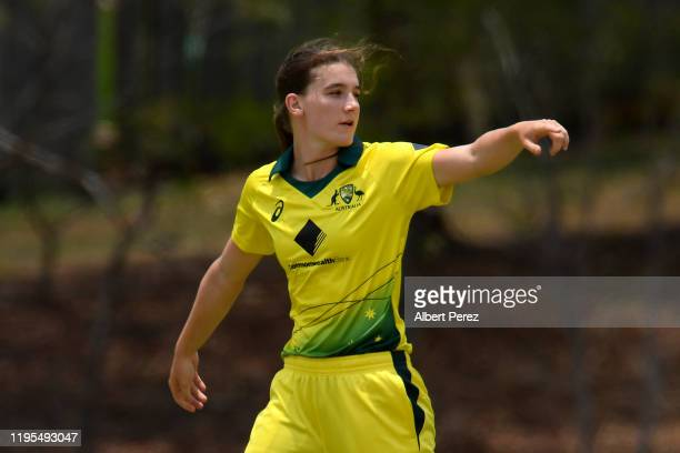Annabel Sutherland of Australia gestures during the third Women's T20 match between Australia A and India A at Bill Pippen Oval on December 23 2019...