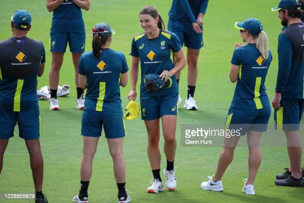 Annabel Sutherland of Australia is seen receiving her cap during game one in the women's One Day International Series between Australia and New...