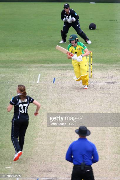 Annabel Sutherland of Australia plays a shot during game three of the Women's One Day International series between Australia and New Zealand at Allan...