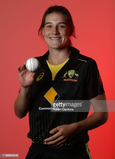 Annabel Sutherland of Australia poses during the Australian Women's T20 World Cup squad announcement at Junction Oval on January 16 2020 in Melbourne...