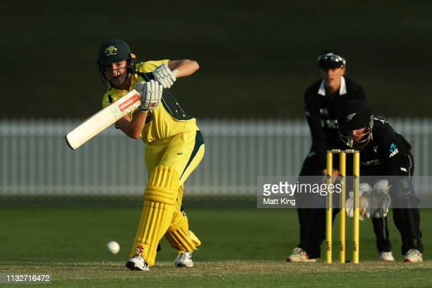 Annabel Sutherland of the GovernorGeneral's XI bats during the GovernorGeneral's XI v New Zealand Tour match at Drummoyne Oval on February 28 2019 in...
