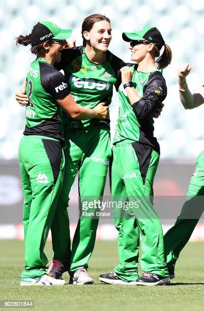 Annabel Sutherland of the Melbourne Stars celebrates after taking the wicket of Bridget Patterson of the Adelaide Strikers during the Women's Big...