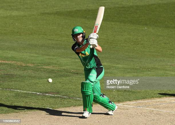Annabel Sutherland of the Melbourne Stars hits out during the Women's Big Bash League match between the Melbourne Stars and the Sydney Sixers at...