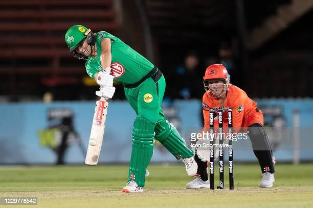 Annabel Sutherland of the Melbourne Stars plays a shot during the Women's Big Bash League semi final cricket match between Melbourne Stars and Perth...