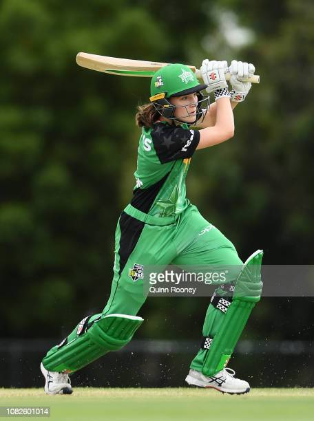 Annabel Sutherland of the Stars bats during the Women's Big Bash League match between the Melbourne Stars and the Perth Scorchers at Casey Fields on...