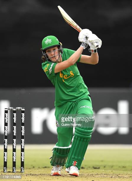 Annabel Sutherland of the Stars bats during the Women's Big Bash League match between the Brisbane Heat and the Melbourne Stars at CitiPower Centre...