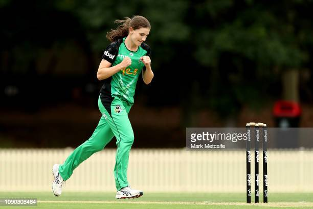 Annabel Sutherland of the Stars celebrates taking the wicket of Rachael Haynes of the Thunder during the Women's Big Bash League match between the...