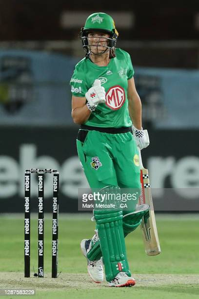 Annabel Sutherland of the Stars celebrates victory during the Women's Big Bash League WBBL Semi Final match between the Melbourne Stars and the Perth...