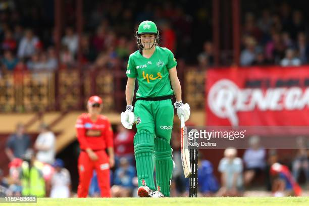 Annabel Sutherland of the Stars looks on during the Women's Big Bash League match between the Melbourne Renegades and the Melbourne Stars at Eastern...