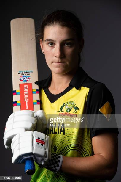 Annabel Sutherland poses during the Australia 2020 ICC Women's T20 World Cup headshots session at Allan Border Field on February 14 2020 in Brisbane...