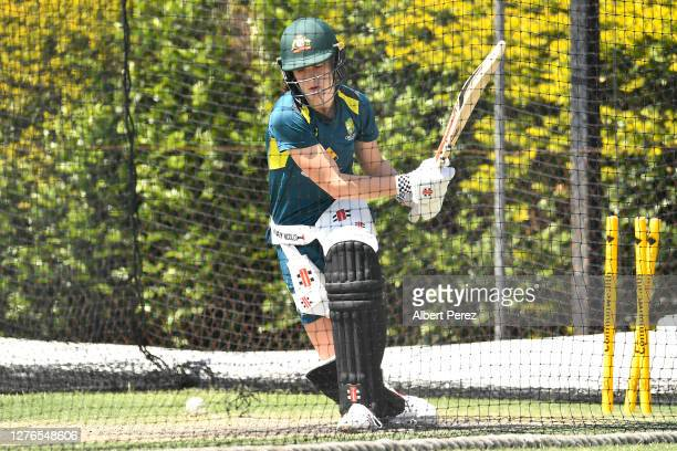 Annabel Sutherland trains during an Australian Women's T20 training session at Allan Border Field on September 25, 2020 in Brisbane, Australia.