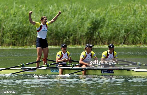 Annabel Vernon Beth Rodford Anna Watkins and Katherine Grainger of Great Britain celebrate winning gold in the Women's Quadruple Sculls Final during...