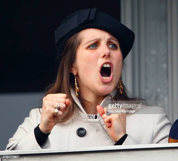 Annabel WaleyCohen cheers husband Sam WaleyCohen as he rides Rajdhani Express in the Ryanair Chase on Day 3 of the Cheltenham Festival at Cheltenham...