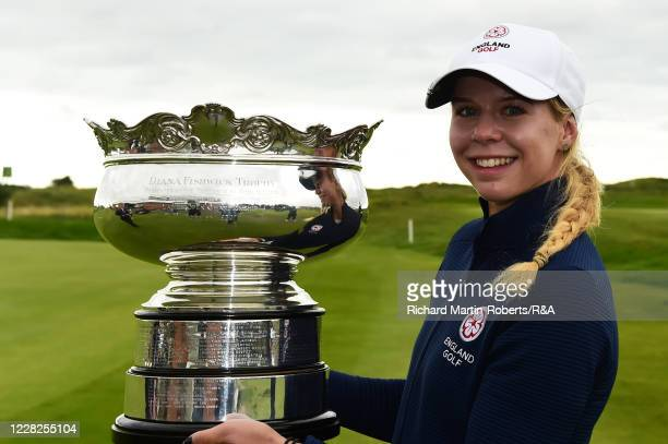 Annabell Fuller of England poses with the runners up trophy during the Final on Day Five of The Women's Amateur Championship at The West Lancashire...