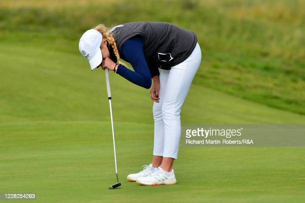 Annabell Fuller of England reacts to a missed putt on the 18th green during the Final on Day Five of The Women's Amateur Championship at The West...