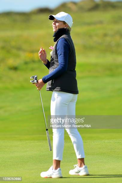Annabell Fuller of England reacts to a putt during the Final on Day Five of The Women's Amateur Championship at The West Lancashire Golf Club on...
