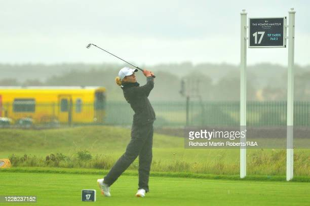 Annabell Fuller of England tees off during Round 3 of Matchplay on Day Four of The Women's Amateur Championship at The West Lancashire Golf Club on...
