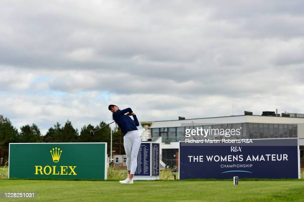 Annabell Fuller of England tees off on the 1st hole during the Final on Day Five of The Women's Amateur Championship at The West Lancashire Golf Club...