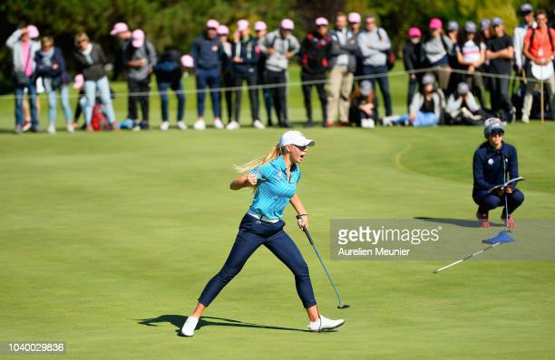 Annabell Fuller of Team Europe reacts during the singles on day two of the 2018 Junior Ryder Cup at Disneyland Paris on September 25 2018 in Paris...