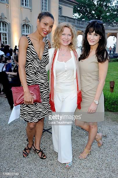 Annabell Mandeng; Marion Kracht and Mariella Ahrens attend the '41th International Emmy Awards - Semi Final Hosting' reception at Villa Borsig on...
