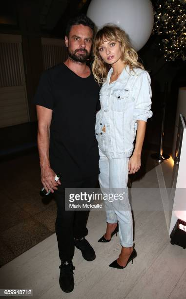 Annabella Barber and Josh Fallshaw pose during the MercedesBenz Fashion Week Australia 2017 Schedule Launch at Ovolo Hotel on March 29 2017 in Sydney...
