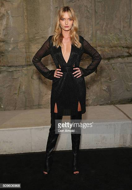 Annabella Barber arrives ahead of the Myer AW16 Fashion Launch at Barangaroo Reserve on February 11 2016 in Sydney Australia