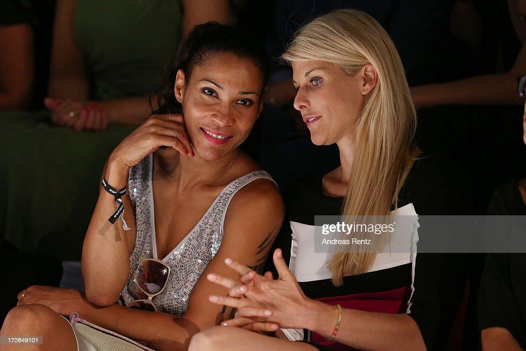 Annabella Mandeng and Natascha Gruen attend the Laurel Show during the Mercedes-Benz Fashion Week Spring/Summer 2014 at Brandenburg Gate on July 4, 2013 in Berlin, Germany.