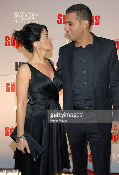 Annabella Sciorra and Bobby Cannavale during 'The Sopranos' Final Season World Premiere Red Carpet at Radio City Music Hall in New York City New York...
