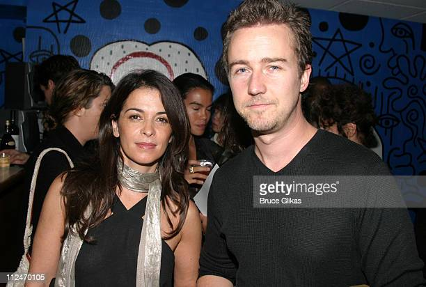 Annabella Sciorra and Edward Norton during LAByrinth Theater Company Celebrity Charades Benefit at The Daryl Roth Theater in New York City New York...