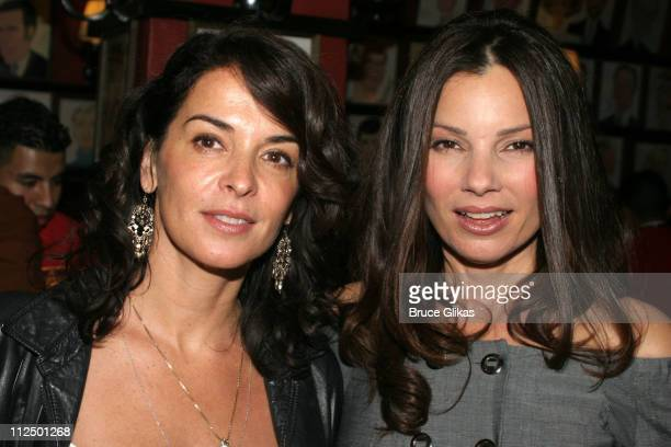Annabella Sciorra and Fran Drescher during Glengarry Glen Ross Broadway Opening Night Curtain Call and After Party at The Royale Theater and Sardi's...
