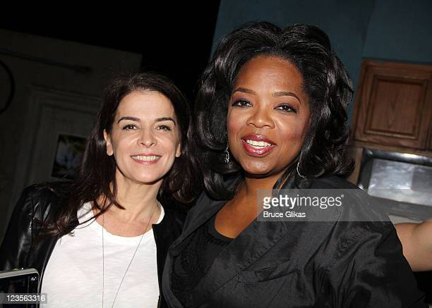 Annabella Sciorra and Oprah Winfrey pose backstage at the hit play 'The Motherf**ker with The Hat' on Broadway at The Schoenfeld Theater on April 30...