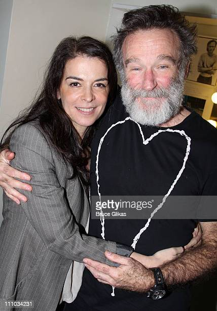 Annabella Sciorra and Robin Williams pose backstage at the hit play 'Bengal Tiger at the Baghdad Zoo' on Broadway at The Richard Rogers Theater on...